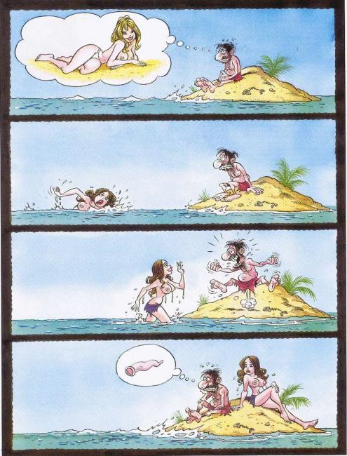 Картинка  про необитаемый остров, презервативы, пошлый комикс