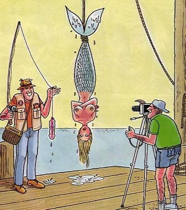 Картинка  про русалок, вибратор, рыбаков пошлый