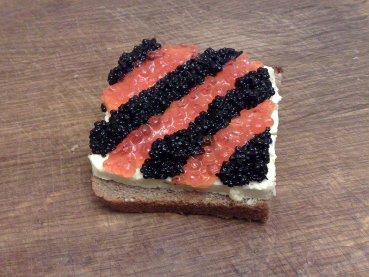 Фото прикол  про икру и бутерброд