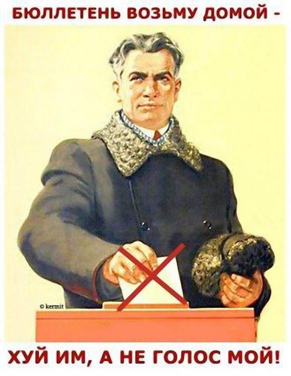 Картинка  про выборы, плакат матерный