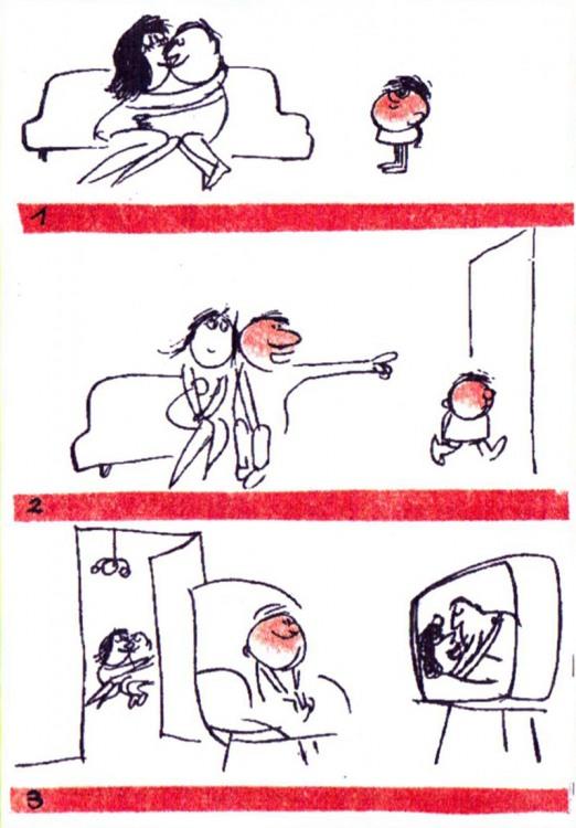 Картинка  про родителей, детей, телевизор пошлый