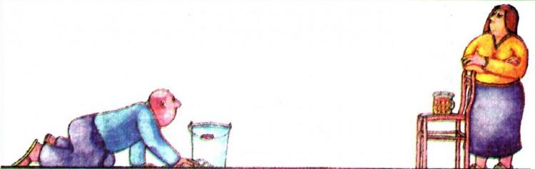 Картинка  про мужа, жену, уборку и пиво