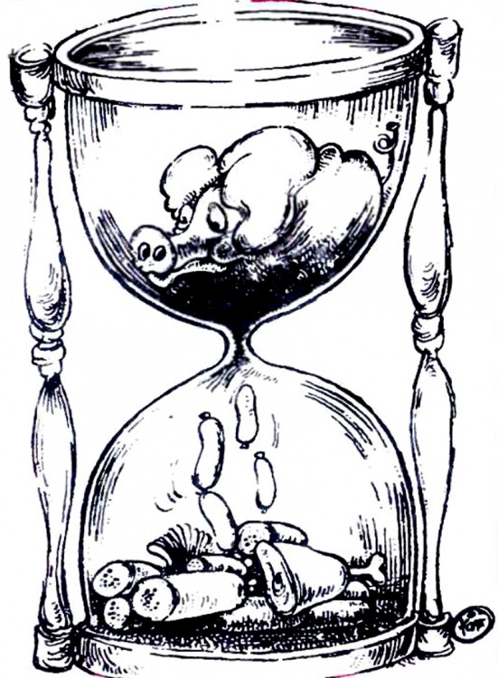 Картинка  про песочные часы, свиней и колбасу