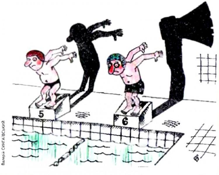 Картинка  про плавание, тень и топор