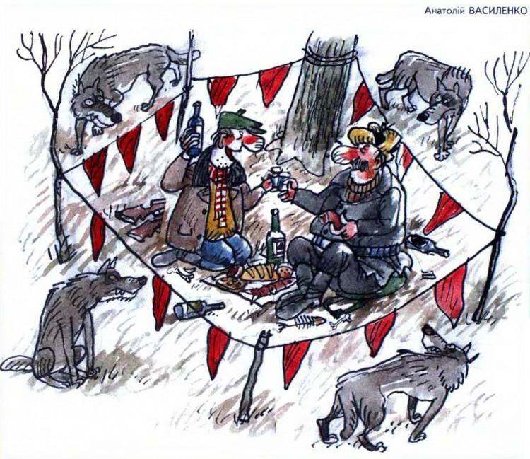 Картинка  про охотников и волков