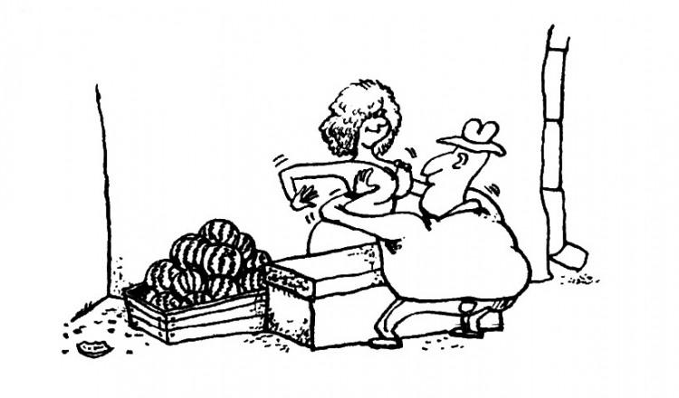Картинка  про арбуз, женскую грудь пошлый