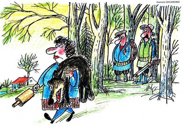Картинка  про охотников, жену, скалку и волков