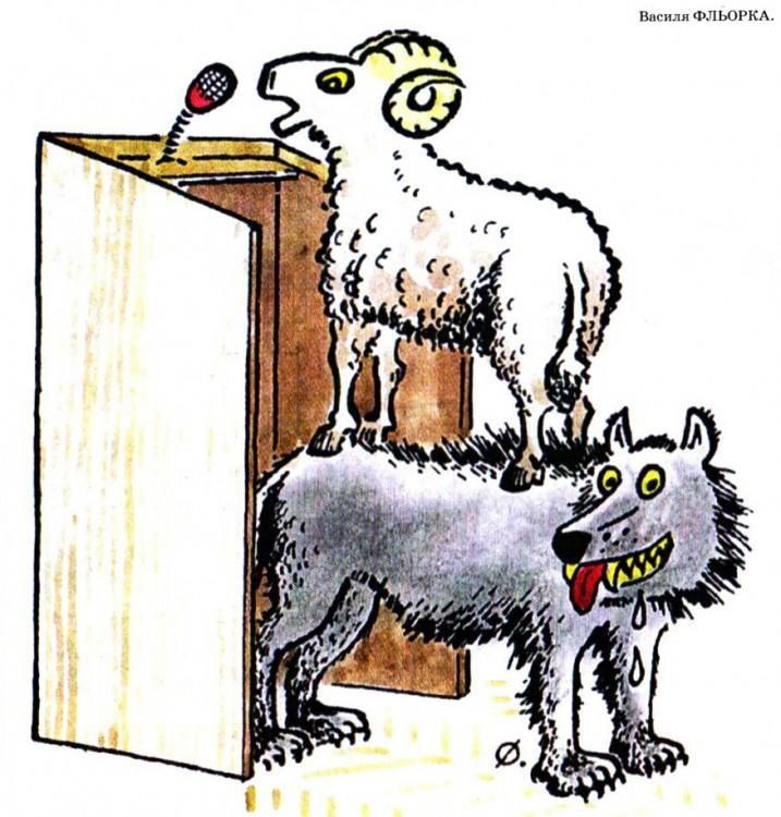 Картинка  про овец, волков и ораторов