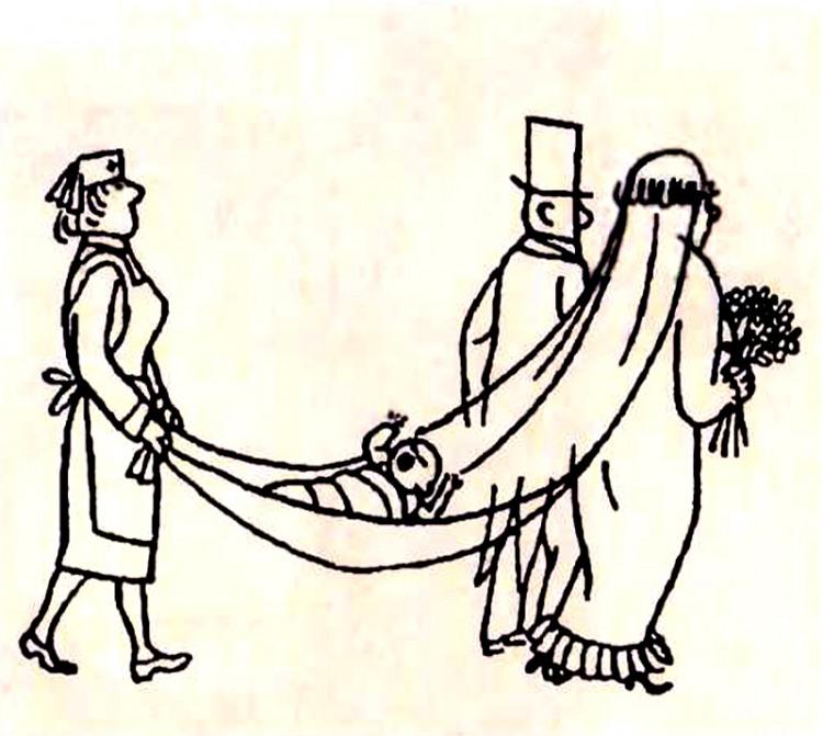 Картинка  про свадьбу и детей
