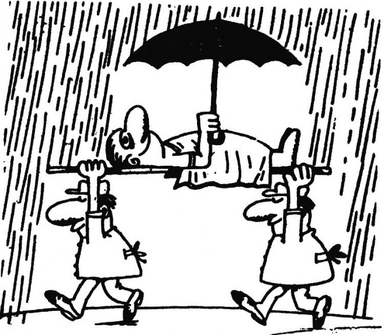 Картинка  про санитаров, дождь и зонтик