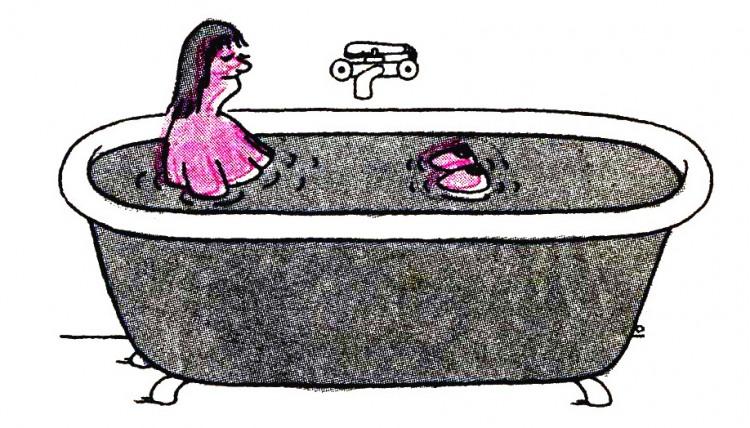 Картинка  про ванну, женскую грудь пошлый