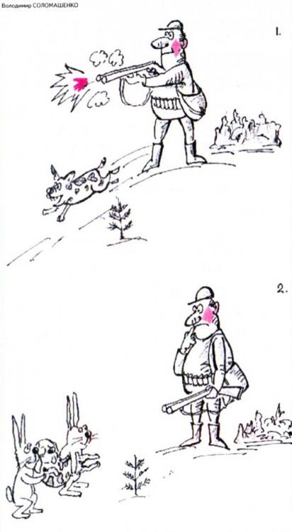 Картинка  про охотников, собак и зайцев