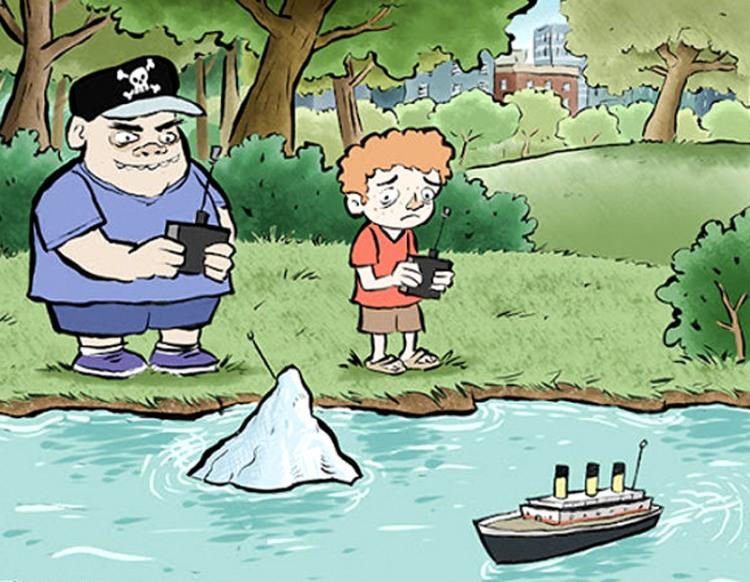 Картинка  про детей, айсберг и корабли