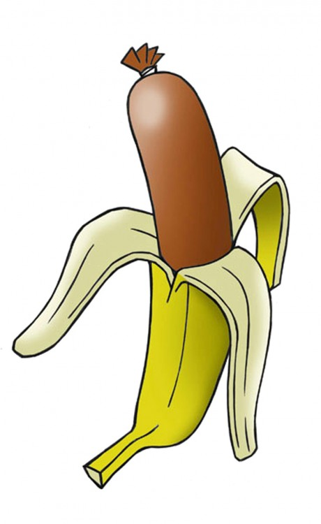 Картинка  про сосиски и банан