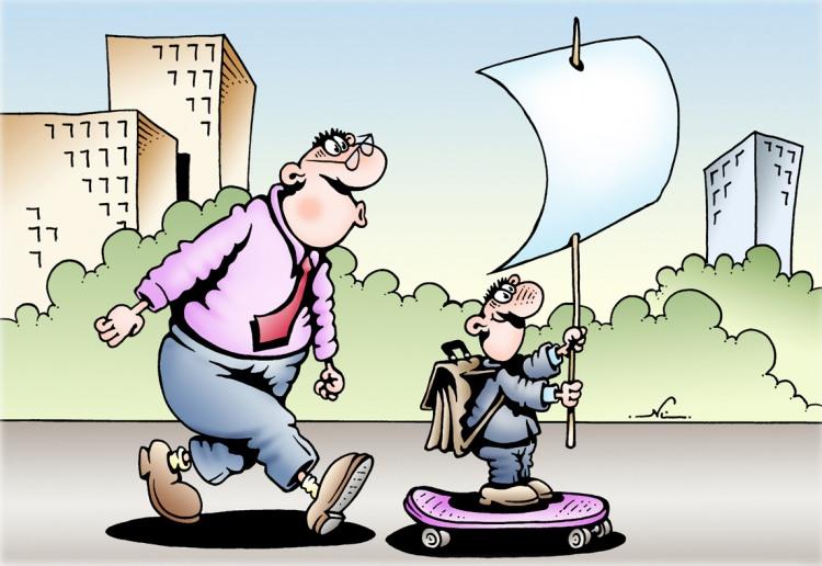 Картинка  про скейтборд и школьников