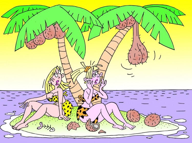 Картинка  про необитаемый остров, женщин, кокос, пошлый игра воображения