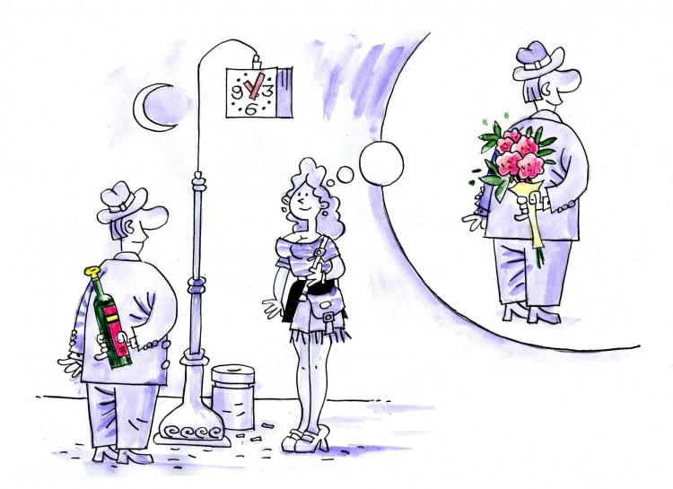 Картинка  про свидание и бутылку