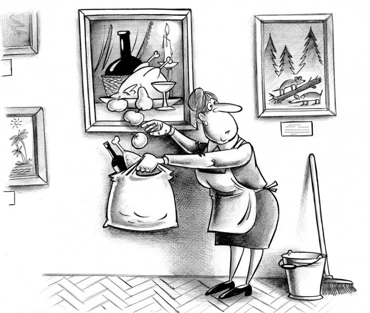 Картинка  про натюрморт, уборщиц и воровство