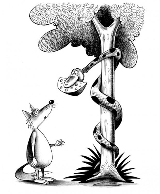 Картинка  про змей, лису и сыр
