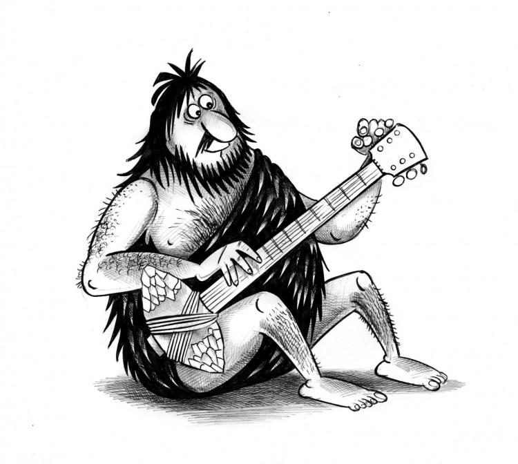 Картинка  про гитару и первобытных людей