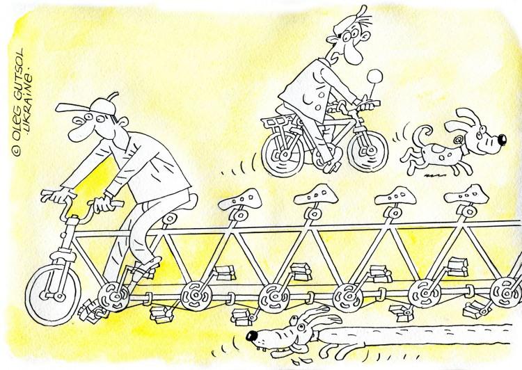 Картинка  про велосипед и собак
